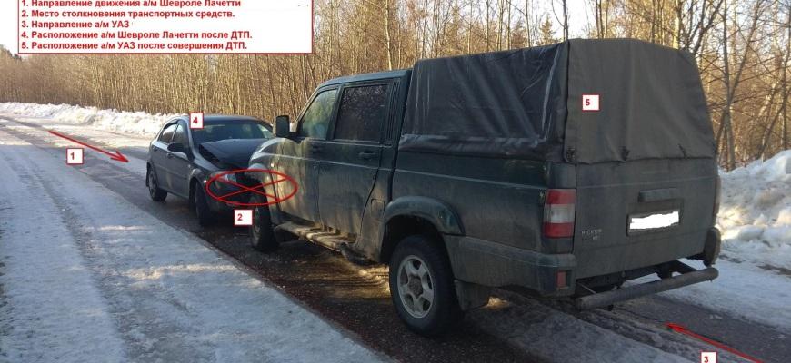 В Судиславском районе на узкой дороге около Гаврилово столкнулись два автомобиля